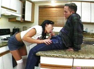 Hottie Blows In Kitchen