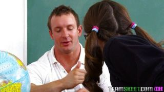 Brunette Schoolgirl Loves To Be Pounded