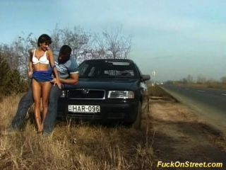 Crazy Amateur Girl Gets Cum Next To Car