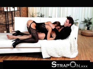 Strapon - Brunette Babe Pegging Her Boyfriend