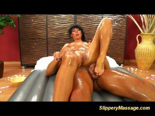 Slippery Massage Babe Gets Mouthful Of Cum