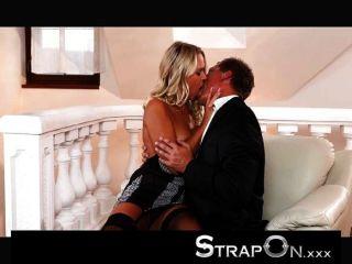 Strapon - Blonde In Double Penetration Heaven
