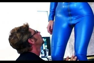 Babe In Blue Latex And Knee High Boots
