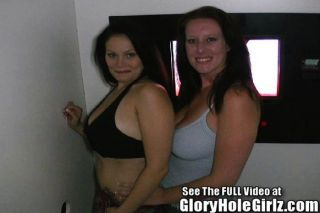 Two Big Tit Hotties Suck Glory Hole Cock!