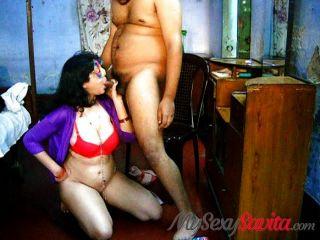 Indian Savita Bhabhi Homemade Blowjob