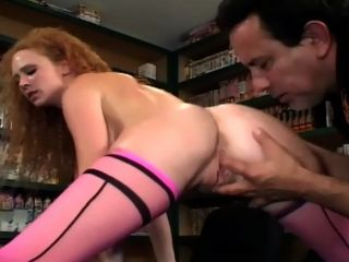 Redhead In Thigh High Nylons Getting Fucked