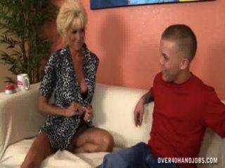 Horny Granny Jacks Off A Short Dude