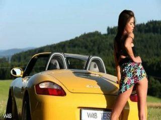 Hot Masturbation In A Porsche
