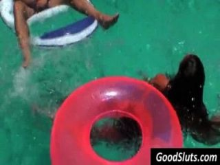 Girl Gives Blowjob In Pool While Other Are Around