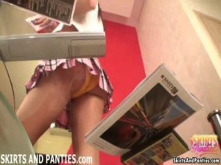 Cute Teen Lara Flashing Her Panties While Cleaning Up