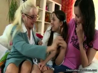 Old Lesbian Teacher Spanks Her Teen Students And Fucks With Dildo