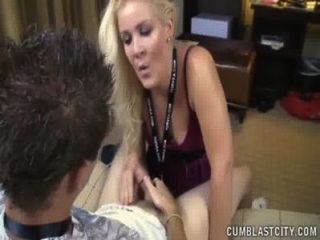 Huge Cumshot For The Horny Blonde