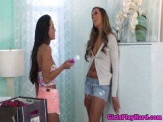 Mischievous Lesbian Babe Spoiling Trimmed Pussy