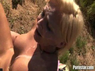 Busty Blonde Gets A Banging Bukakke Fun In The Sun