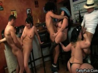 Lovely Bbw Orgy Sex In The Bar