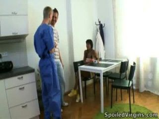 Kim Is A Black Virgin Who With Her Man Gets Her Pussy Inspected By Her Doctor