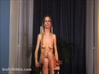 European Blonde Denise Plugged By Two Big Brutal Dildos