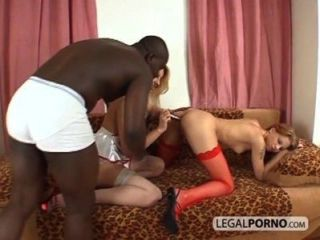 Two Chicks Wearing Stockings Get Fucked By A Black Cock Bmp-3-03