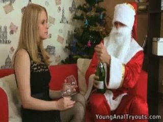 Oksana's Tight Ass Hole Fucked By Santa