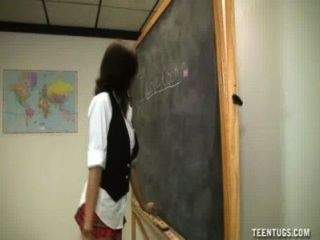 Schoolgirl Jerks Off The Teacher