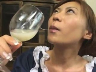 Right! good woman drinking a glass of cum