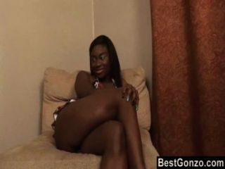 Black Schoolgirl Loves White Cock
