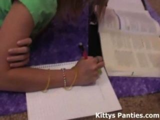 18 Year Old Teen Kitty Doing Her Homework