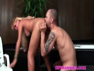 Naughty Blonde Shemale Gets Sucked And Fucked
