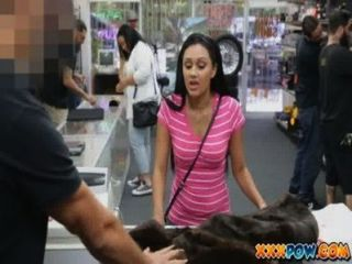 Sexy Latin Girl Strips Of Her Clothes And Sucks Cock In Pawn Shop