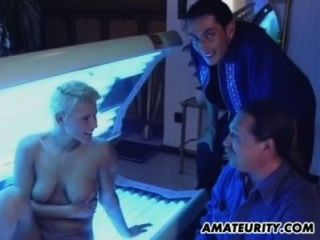 Busty Blonde Girlfriend Sucks And Fucks In A Solarium