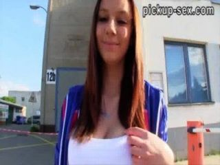 Euro Slut Veronika Flashes Her Big Tits Then Fucked In Public