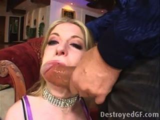 Blond Teen Gags On A Big White Cock