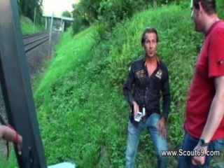 German And Swiss Amateur Teen Beim Anal Dreier