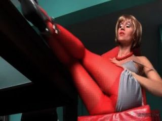 Sexy Red Pantyhose On The Long Milf Legs!