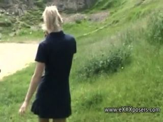 British Blonde Outdoors Flashes Panties