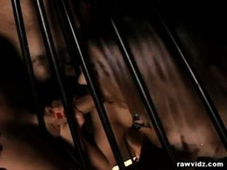 Sub Blonde Caged And Fucked