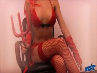 Sexy Brunette Teen Wearing Her Sexy Devil Halloween Costume!