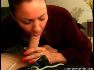 Old Woman Sucks Cock And Gets Facial