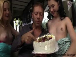 Birthday Cake For Two Hot European Teens Black Haired Alice And Blonde Lolly