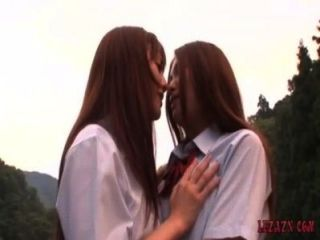 2 Schoolgirls Kissing Petting While Standing Outdoor