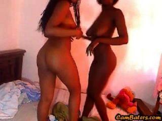 Sexy Busty Ebony Lesbians  Play With Pussy