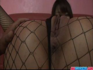 Hot Asian Babe In Fishnet Pussy Fondled And Toyed