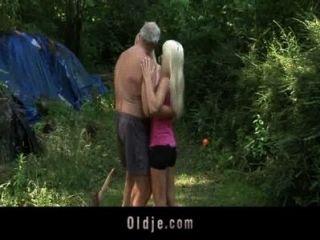 Bearded Oldman Threesome With Blonde Teens