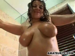 Very Busty Amateur Girlfriend Bathroom Action