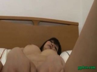 Busty Asian Girl In Stockings Sucking Guy Hairy Pussy Fucked On The Bed