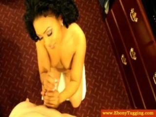 Handjob Loving Ebony Babe Tugs Cock