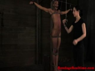 Ballgagged punished sub all tied up on the fl 3