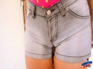 Big Ass Teen In Tight Short Jeans! Cameltoe And Big Tits Fucking Herself!