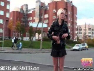 Naughty Nata Flashing Her Little Panties In Public
