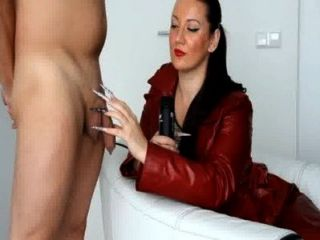 Kinkydomina Red Leather Jacket Handjob Tease